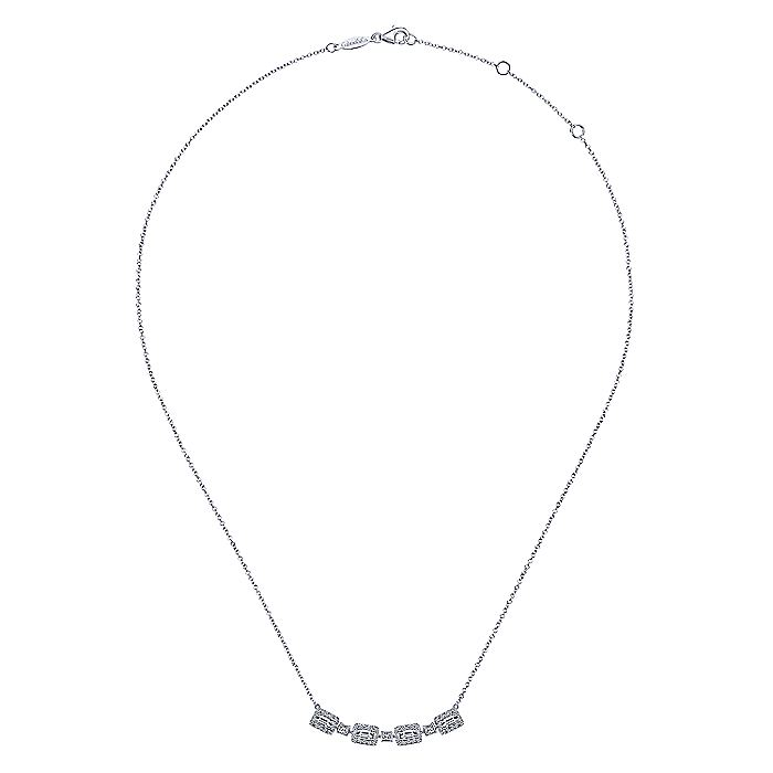 14K White Gold Rectangular Baguette and Diamond Halo Station Necklace