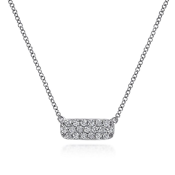14K White Gold Rectangular Diamond Pendant Necklace