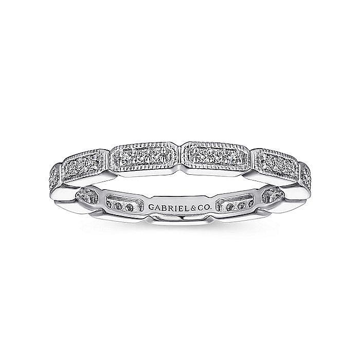 14K White Gold Rectangular Station Diamond Eternity Ring
