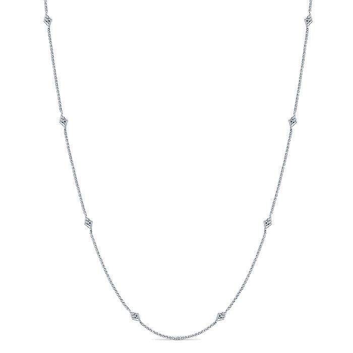 14K White Gold Rhombus and Diamond Station Necklace