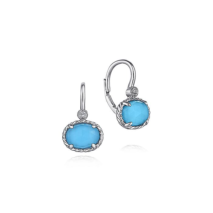 14K White Gold Rock Crystal/Turquoise and Diamond Drop Earrings