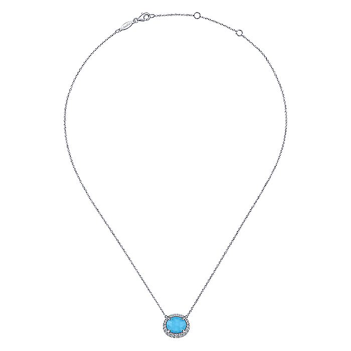 14K White Gold Rock Crystal/Turquoise and Diamond Halo Pendant Necklace