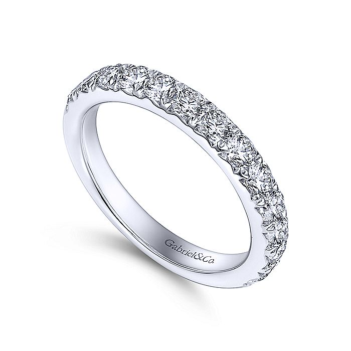14K White Gold Round 14 Stone Diamond Wedding Band