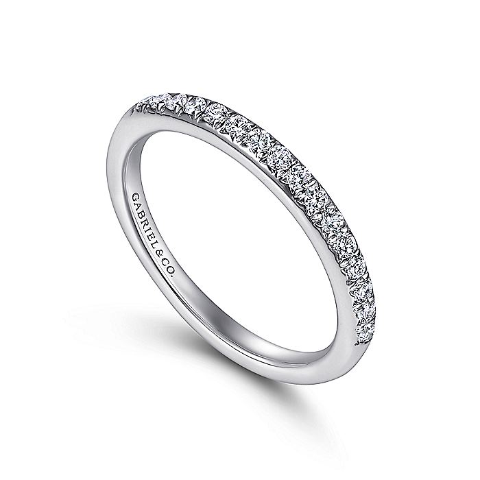 14K White Gold Round 16 Stone Diamond Wedding Band