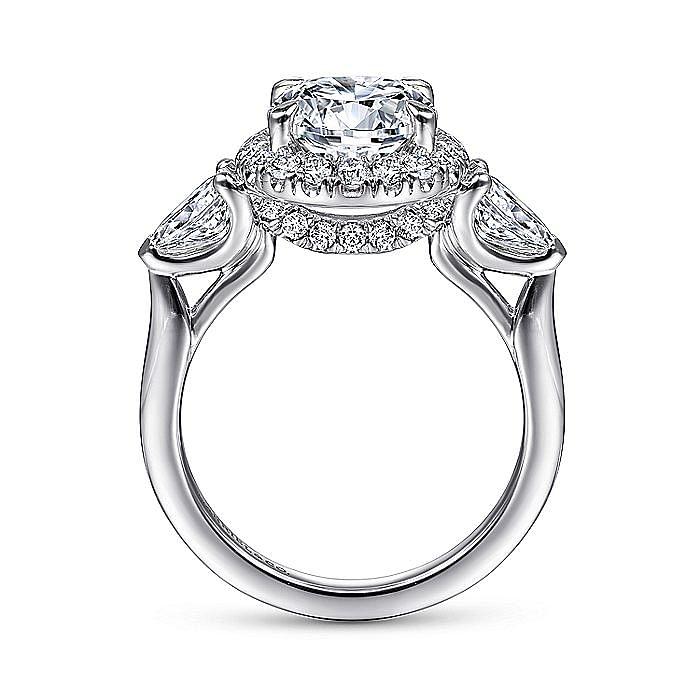 14K White Gold Round 3 Stone Halo Diamond Engagement Ring
