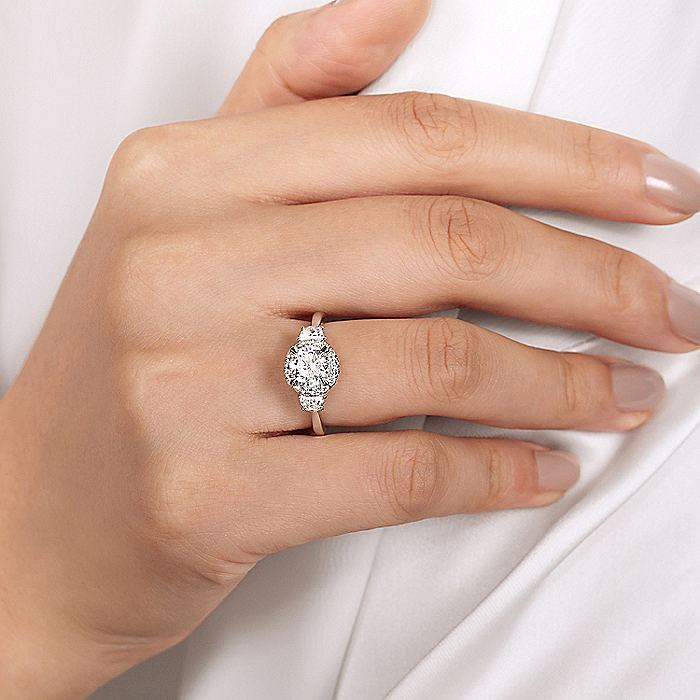 14K White Gold Round 3 Stone Halo Diamond Engagement Ring