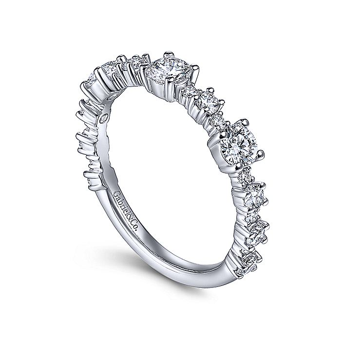 14K White Gold Round Alternating Diamond Station Ring