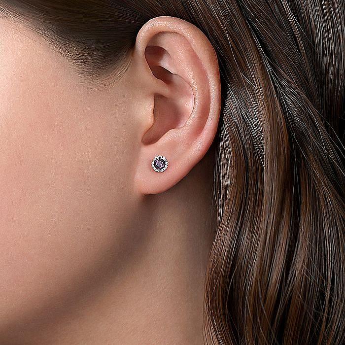 14K White Gold Round Amethyst & Diamond Halo Stud Earrings