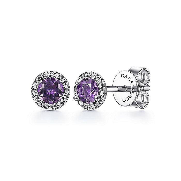 14K White Gold Round Amethyst Diamond Halo Stud Earrings