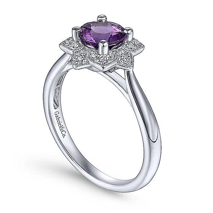 14K White Gold Round Amethyst and Diamond Flower Ladies Ring