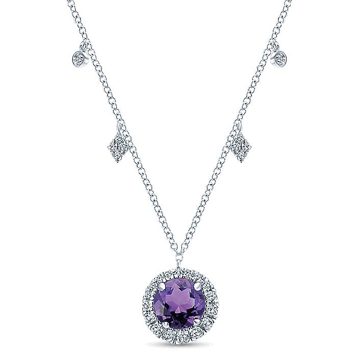 14K White Gold Round Amethyst and Diamond Halo Pendant Necklace with Side Drops