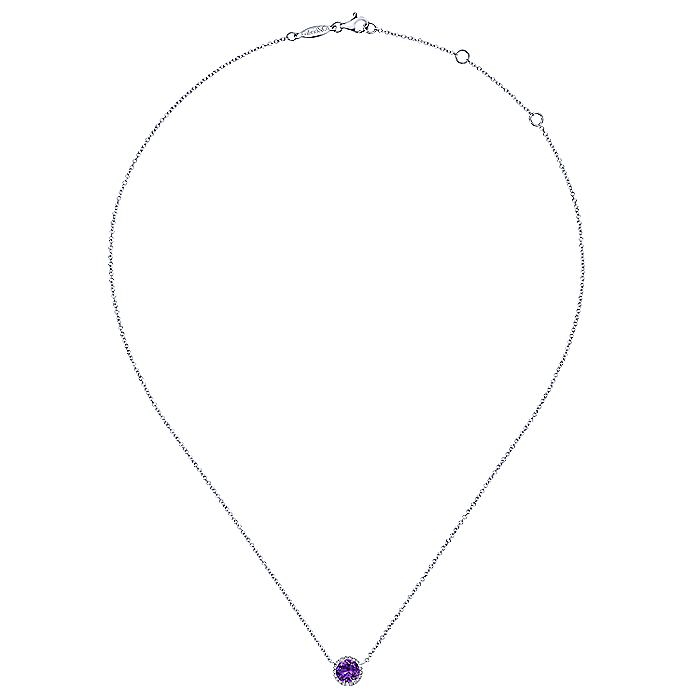 14K White Gold Round Amethyst and Diamond Halo Pendant Necklace