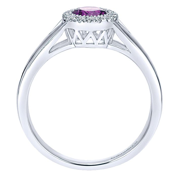 14K White Gold Round Amethyst and Diamond Halo Ring