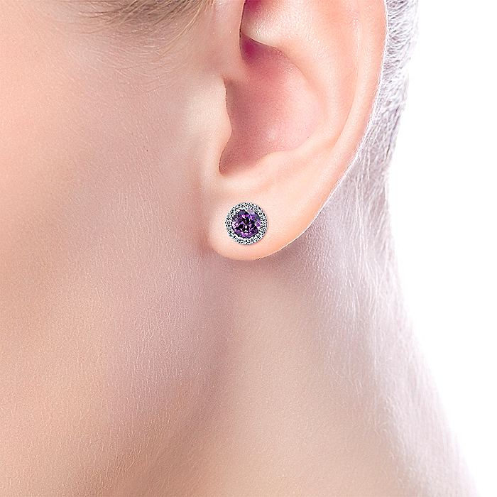 14K White Gold Round Amethyst and Diamond Halo Stud Earrings