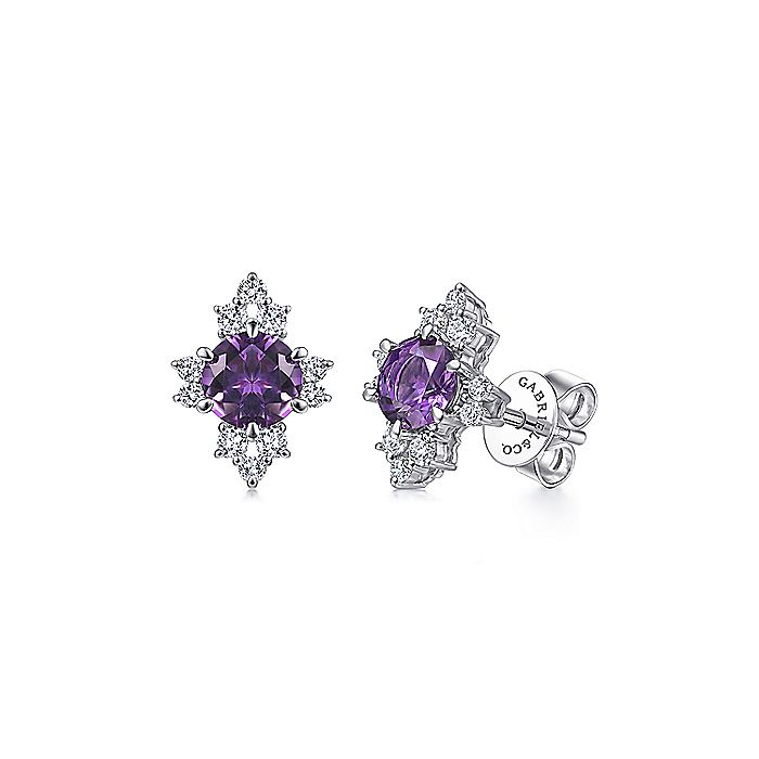 14K White Gold Round Amethyst and Diamond Stud Earrings