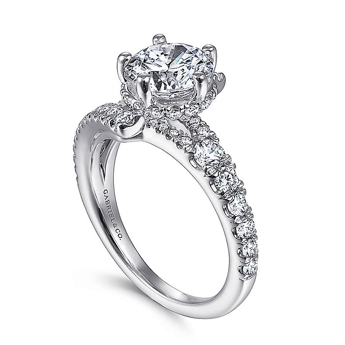 14K White Gold Round Asymmetrical Split Shank Diamond Engagement Ring