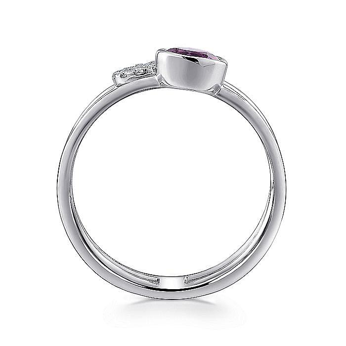 14K White Gold Round Bezel Amethyst and Diamond Three Row Ring