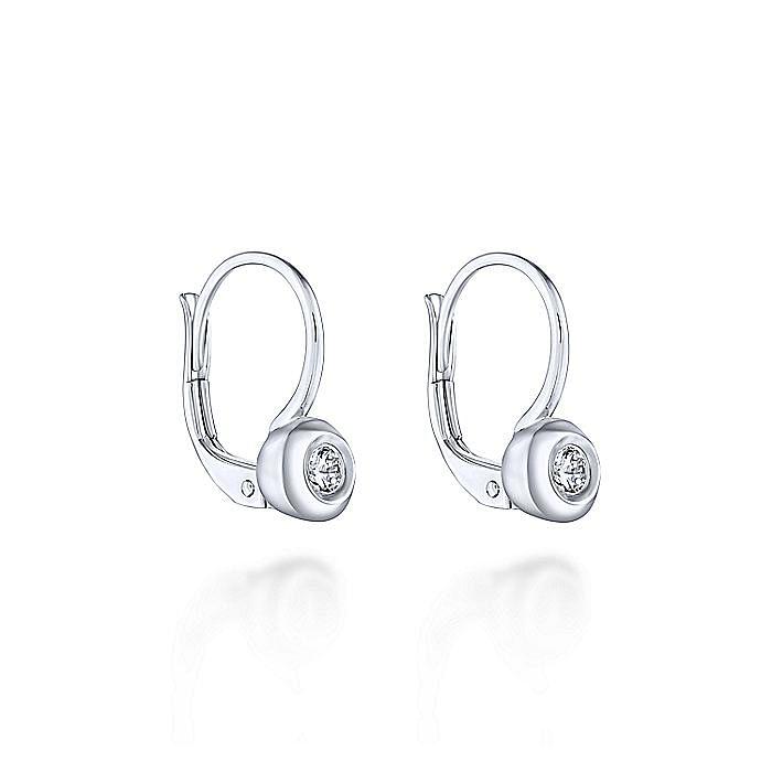14K White Gold Round Bezel Diamond Drop Earrings