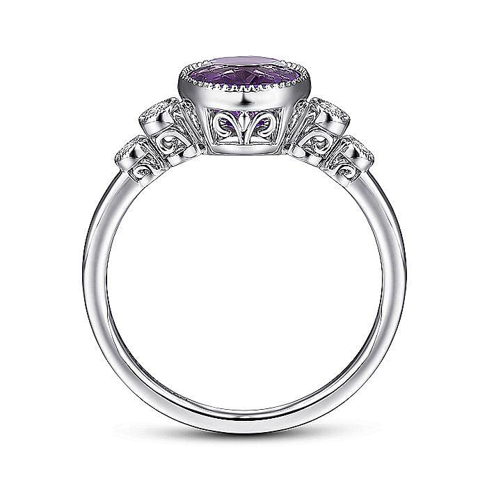 14K White Gold Round Bezel Set Amethyst and Diamond Ring