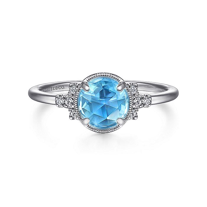 14K White Gold Round Bezel Set Blue Topaz Ring with Diamond Side Accents