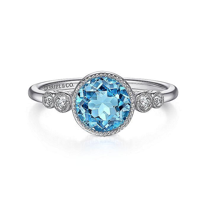 14K White Gold Round Bezel Set Blue Topaz and Diamond Ring
