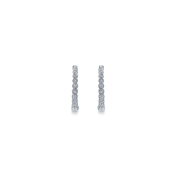 14K White Gold Round Bezel Set Diamond 15mm Huggie Earrings