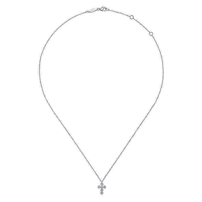14K White Gold Round Bezel Set Diamond Cross Pendant Necklace