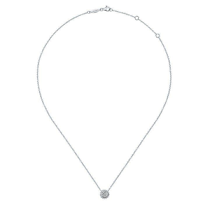 14K White Gold Round Bezel Set Diamond Pendant Necklace with Beaded Frame