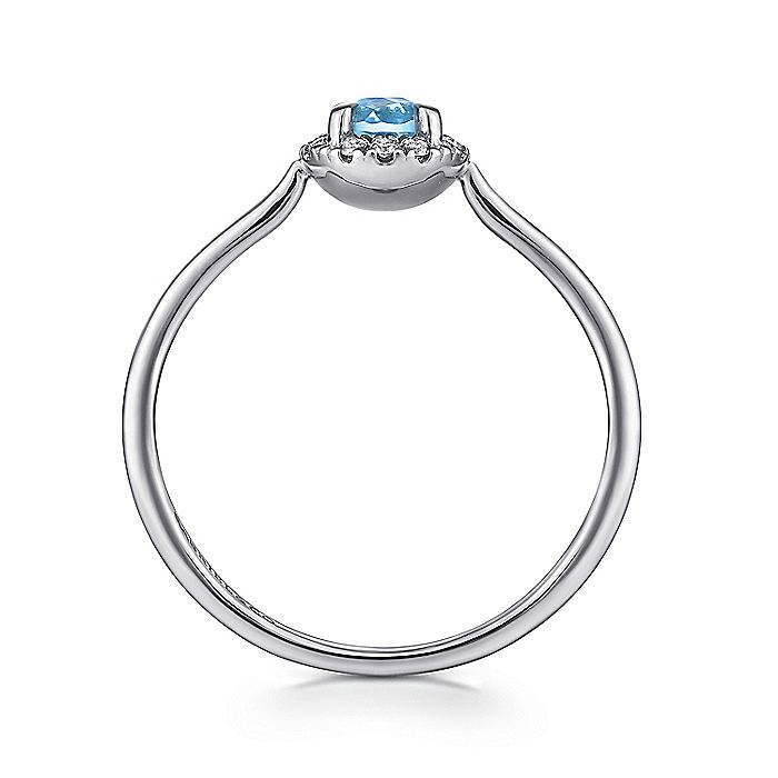 14K White Gold Round Blue Topaz Diamond Halo Ring