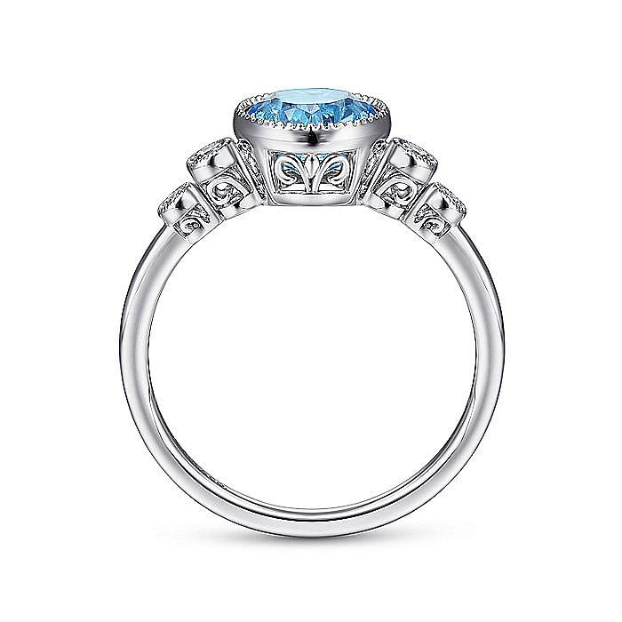 14K White Gold Round Blue Topaz and Bezel Set Diamond Side Stones Ladies Ring
