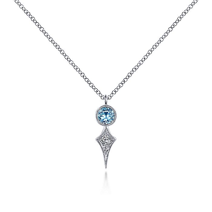 14K White Gold Round Blue Topaz and Kite Diamond Pendant Necklace