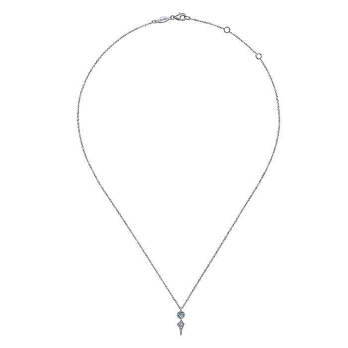 14K White Gold Round Blue Topaz and Kite Diamond Pendant Necklace