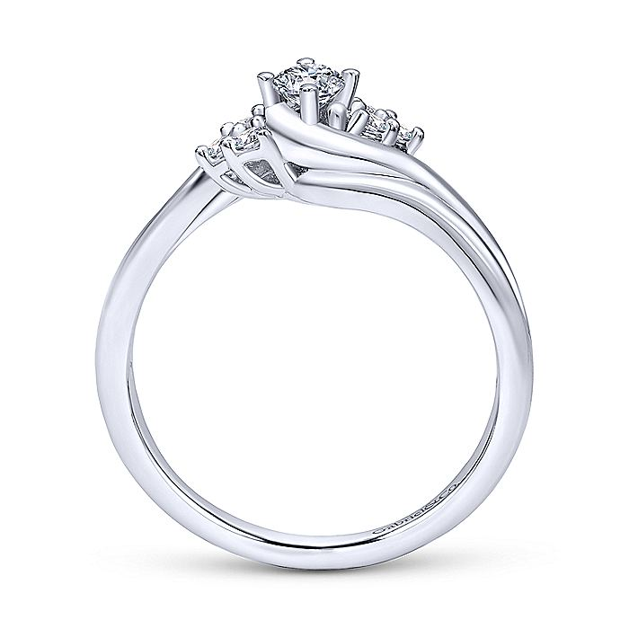 14K White Gold Round Bypass Complete Diamond Engagement Ring