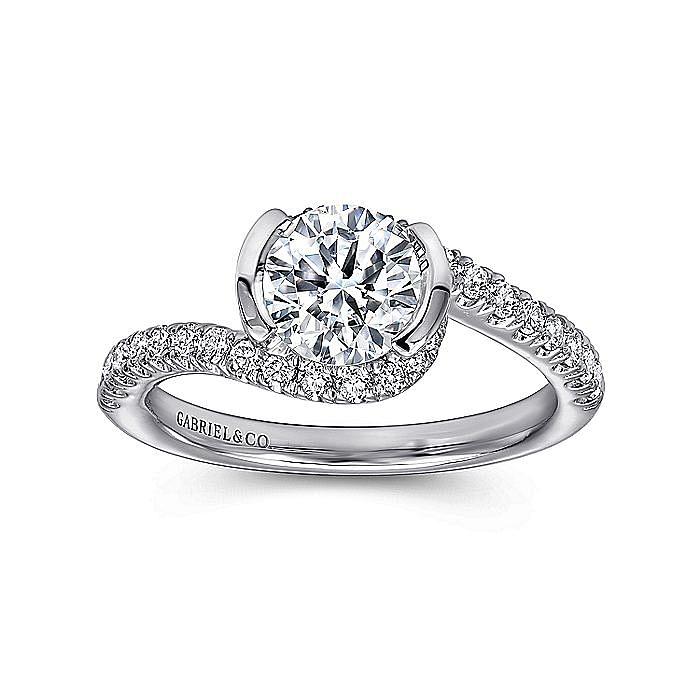 14K White Gold Round Bypass Diamond Engagement Ring