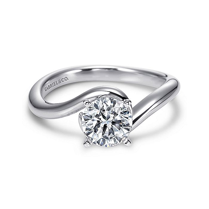 14K White Gold Round Bypass Diamond Engagement Ring