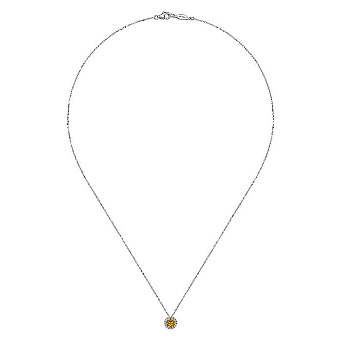 14K White Gold Round Citrine and Diamond Halo Pendant Necklace