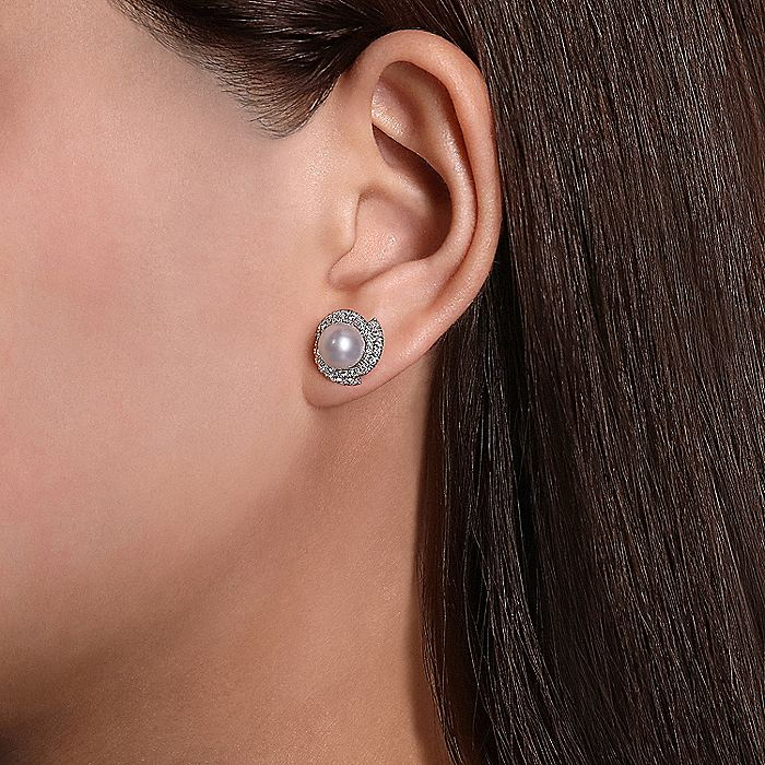 14K White Gold Round Cultured Pearl Swirling Diamond Halo Stud Earrings