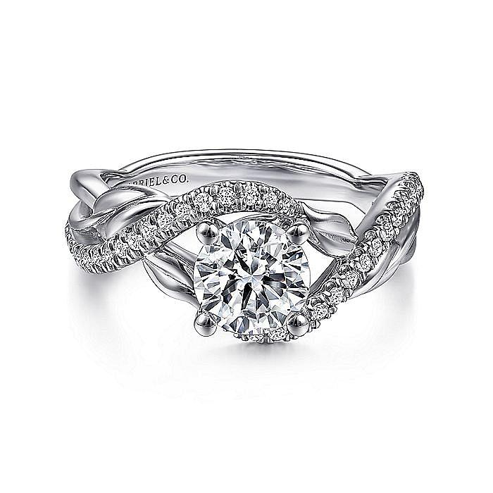 14K White Gold Round Diamond Bypass Engagement Ring