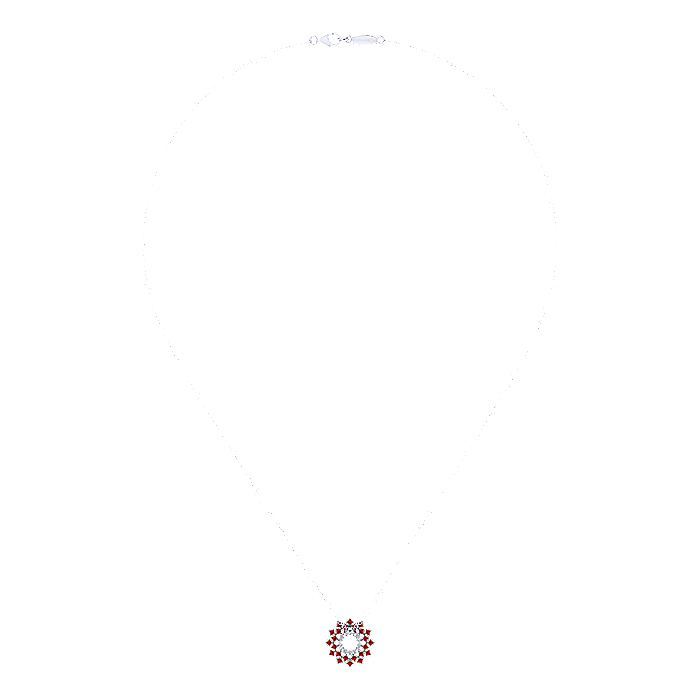 14K White Gold Round Diamond Circle Pendant Necklace with Ruby Halo Burst