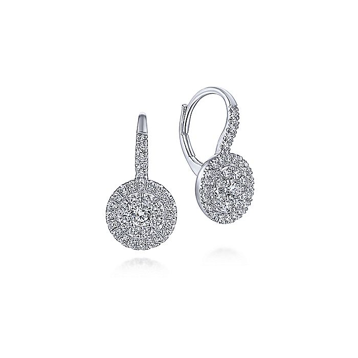 14K White Gold Round Diamond Cluster Leverback Earrings
