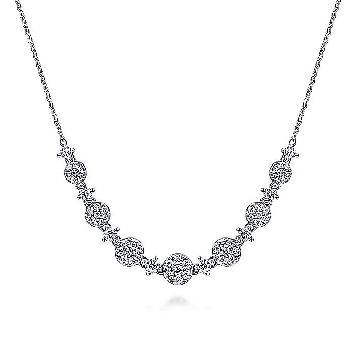 14K White Gold Round Diamond Cluster Station Necklace