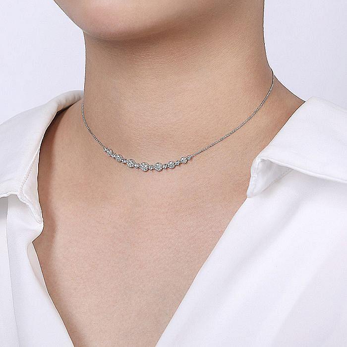 14K White Gold Round Diamond Cluster Station Necklace