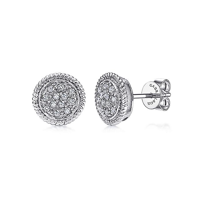 14K White Gold Round Diamond Cluster Stud Earrings with Twisted Rope Frame