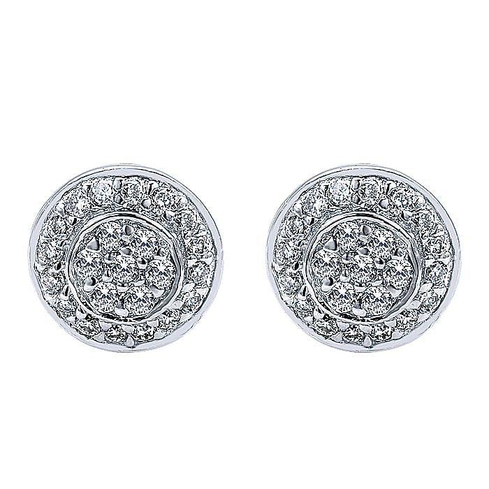 14K White Gold Round Diamond Cluster Stud Earrings