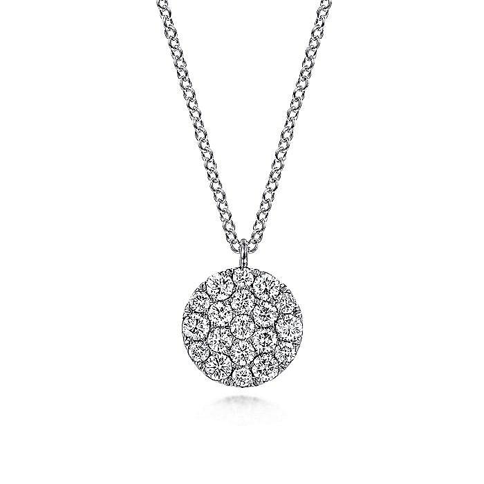 14K White Gold Round Diamond Disc Pendant Necklace