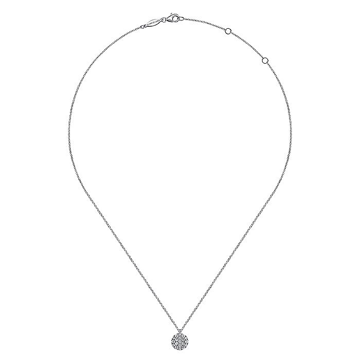 14K White Gold Round Diamond Disc Pendant Necklace