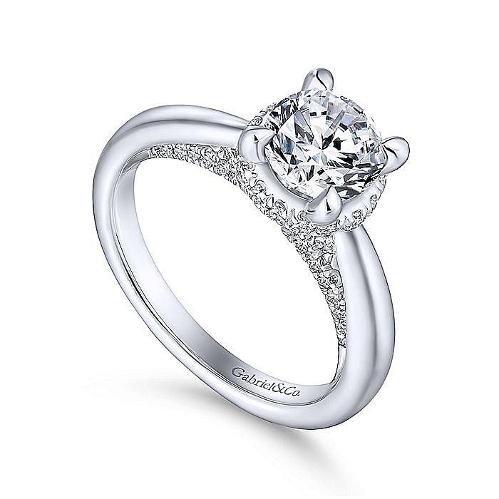 14K White Gold Round Diamond Engagement Ring