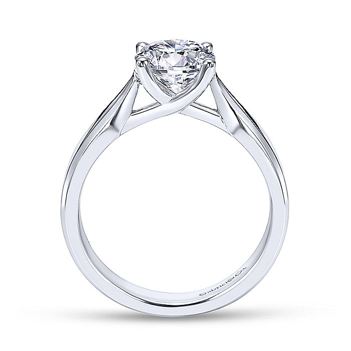 14K White Gold Round Diamond Engagement Ring