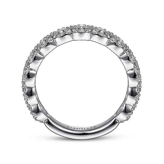 14K White Gold Round Diamond Halo Anniversary Band