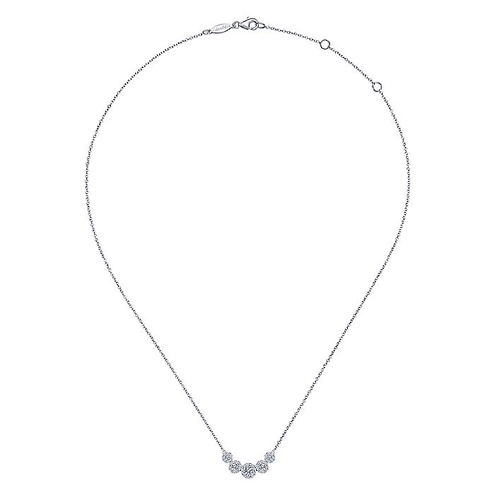 14K White Gold Round Diamond Halo Necklace